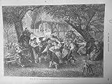 1873 MI13/9 SALON BEAUX ARTS ALSACE AUTREFOIS LE TROMBONE DANSE POPULAIRE COSTUM