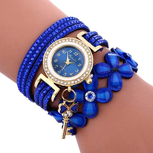Sonnena Damen Armbanduhren, Mode Glockenspiel Diamant Armbanduhr Damenuhr Klassik Lederarmband Quarzuhr Armband Handgelenk Uhr Geburtstag Geschenk (Blau)