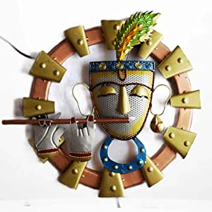 Vfrills Vintage Wall Hanging Metal Art Lord Krishna Playing Flute Home Decorations Items for Living Room Wall Mounted without LED Art Showpiece (Multicolor, 19x19 Inches)