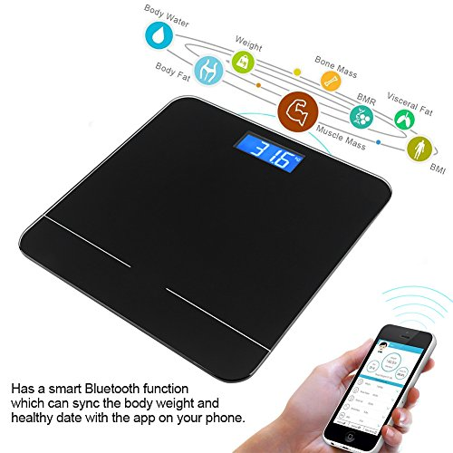 Bluetooth Körperfettwaage, elektrische Bluetooth Waage mit Digital LCD Display IOS und Android App Smart Wireless Digital Badwaage für Körpergewicht, Körperfett, Wasser, Muskelmasse, BMI, BMR, Knochen