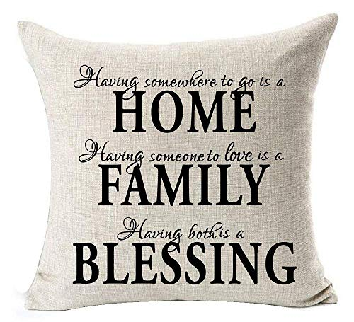 Kissenbezüge Retro Vintage Wood Grain Warm Sayings This Home is Blessed & Loyalty Happiness A Dog Paw Prints Cotton Throw Pillow Case Cushion Cover Home Office Bay Window Decorative Square 18 Inches