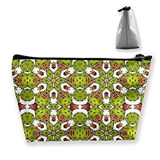 Kaleidoscope Cactus Makeup Bag Large Trapezoidal Storage Travel Bag Wash Cosmetic Pouch Pencil Holder Zipper