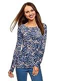 oodji Collection Damen Langarmshirt aus Baumwolle, Blau, DE 36 / EU 38 / S
