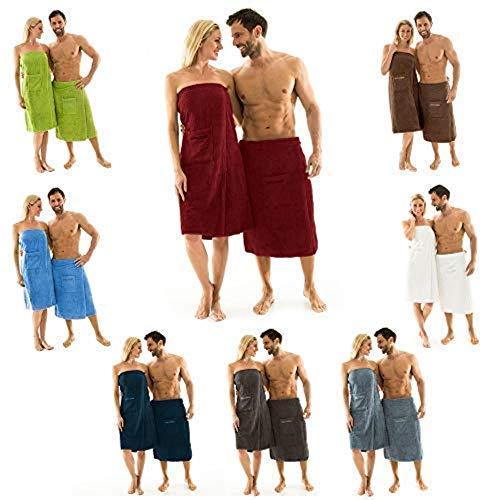 aqua-textil Wellness Saunakilt Damen 90 x 150 cm hell blau Baumwolle Saunasarong Frottee Kilt langer Schnitt 0010402