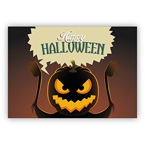 (Klappgrußkarten / Glückwunschkarten / Neujahrskarten / Firmen Grußkarten für Kunde, Geschäftspartner, Mitarbeiter): Schreckliche Halloween Karte mit Grusel - Kürbis: Happy Halloween (Beste Geschnitzte Kürbisse Für Halloween)