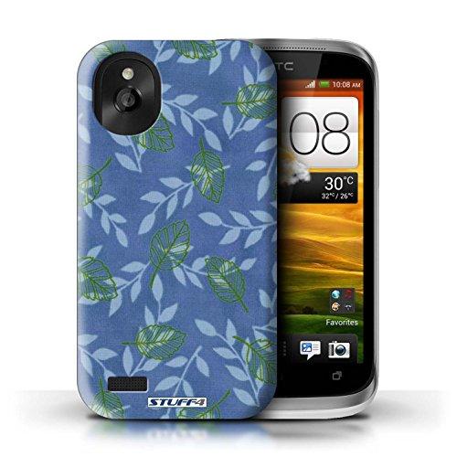 Kobalt® Imprimé Etui / Coque pour HTC Desire X / Bleu/Marron conception / Série Motif Feuille/Branche Bleu/Vert