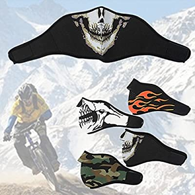 Frontier Neopren halbe Gesichts Reversible Biker Skateboard Motor Schädel Maske Geist CS Jagd Mask