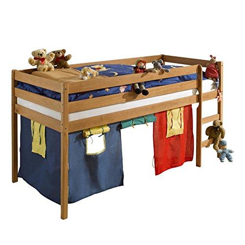 IDIMEX Hochbett Spielbett für Kinder Erik Kiefer massiv buchefarbe lackiert mit Vorhangset & Rollrost 90 x 200 cm (B x L)