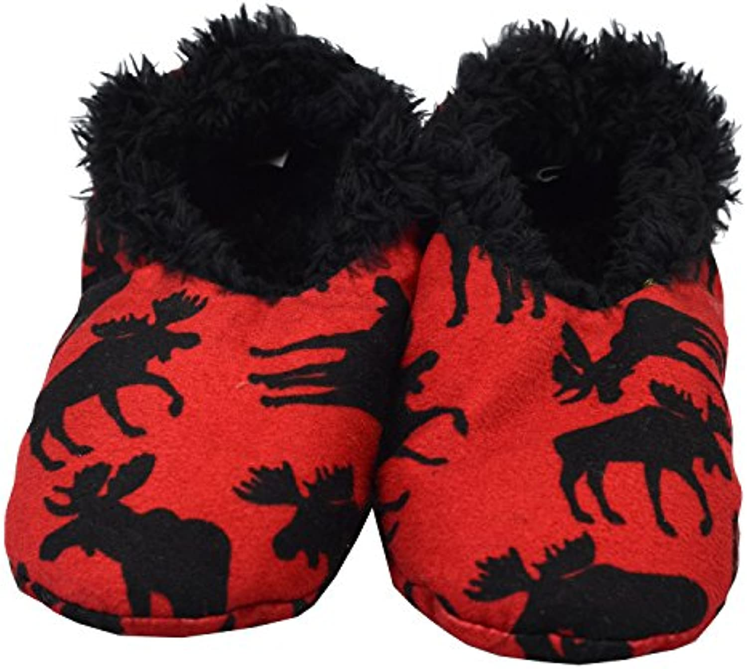 Lazy One Unisex Classic Moose Red Fuzzy Feet Zapatilla Adulto