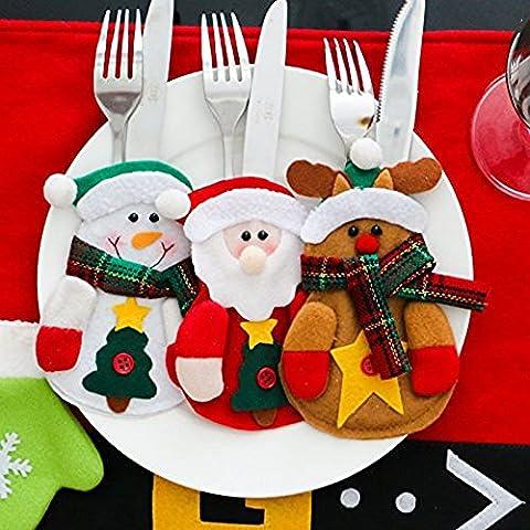 AAAHOMEEU 3 Pack Set Küchenanzug Tafelsilber Taschen Taschen Messer Gabeltasche Schneemann Weihnachtsmann Elch Weihnachtsfest Dekoration (Schneemann / Weihnachtsmann / Elch)
