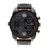 Foxnovo Grand cadran rond Dual Time Cool masculine Oulm 9316 affichage Quartz bracelet montre avec bande d''unité centrale (noir)