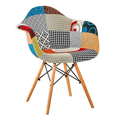 RedOAK Kevin Patchwork Fabric DAW Accent Chair for Living Room/Dining/Study