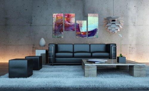 Augenblicke Wandbilder Krass bunt 130x70cm 4 teiliges Keilrahmenbild echter Eyecatcher (30×70+30×50+30×50+30x70cm) abstraktes Wandbild mehrteilig Gemälde-Stil handgemalte Optik Vintage
