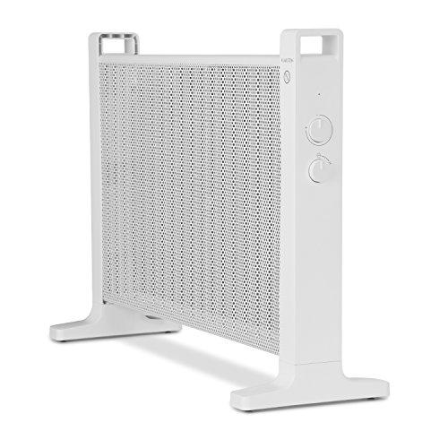 Klarstein HeatPalMica20 Chauffage électrique Mica Chaleur rapide Puisance de 2000W 2 niveaux Accrochage mural Silencieux Simple à utiliser Régleur de température Roulettes incluses Protection IP24 Salle de bain Blanc