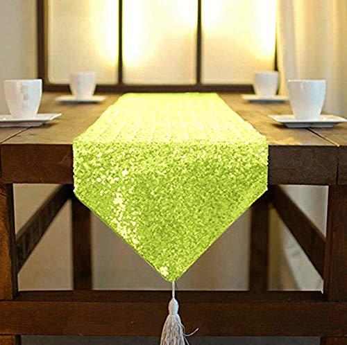 (ShinyBeauty Tischläufer mit Quaste, schimmerndes Grün 30x 180cm, mit Glitzer und runden Pailletten, Tischläufer für Party / Hochzeit / Bankett, Tischdecke, dekorativ, mehrfarbig, 12x72-Inch)