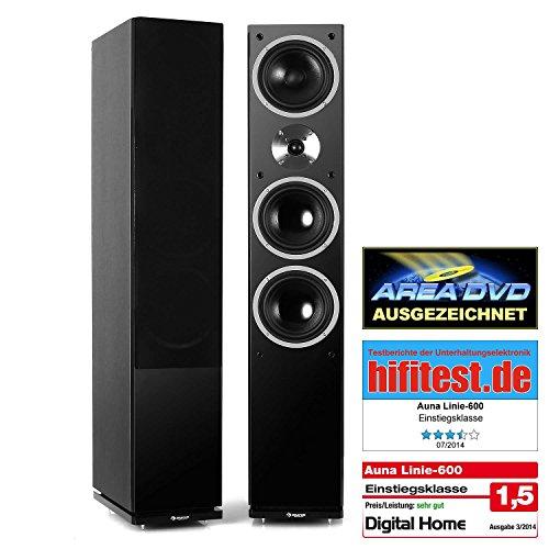auna Linie-600-BK Lautsprecher 3-Wege Standlautsprecher Lautsprecher-Boxen Front-Lautsprecher (140W RMS, Bassreflex-Stand-Boxen, passiv, Holz) schwarz