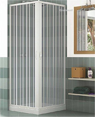 Duschkabine mit zwei verschließbaren Türen und 90-Grad-Winkel, hergestellt aus ungiftigem, selbstverlöschendem PVC-Kunststoff, falt- und schiebbar, Farbe: weiß
