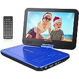 """10.5"""" Tragbarer DVD-Player mit Wiederaufladbarer Batterie, 1024*600 Digital TFT Schwenkbaren Bildschirm, unterstützt SD-Karte und USB (Blau)"""