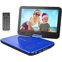 DBPOWER 10.5'' Lettore DVD portatile, 5 ore Batteria ricaricabile, display inclinabile, Massimo support con schede SD, pennette USB e riproduzione diretta di AVI/RMVB/MP3/JPEG (Blu)