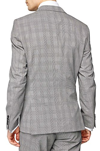 next Veste de costume à carreaux Double Breasted Coupe Slim Homme Noir/Blanc