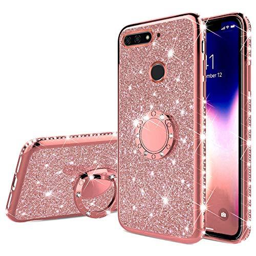 Uposao Kompatibel mit Huawei Honor 7A Handyhülle mit 360 Grad Ring Ständer Glitzer Bling Strass Diamant Mädchen TPU Silikon Clear Hülle Schutzhülle Durchsichtig Tasche Case,Rose Gold