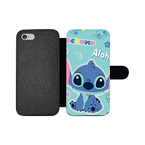 gspstore iPhone 6/iPhone 6S Geldbörse Fall, Lilo & Stitch Disney Cartoon Pattern Flip PU Leder Wallet Fall mit Kartentaschen für iPhone 6/iPhone 6S, Color 3