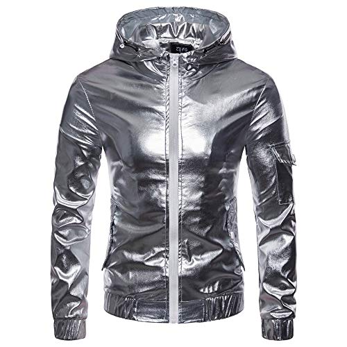 Luckycat Männer Luxus Gold Herbst Casual Hip Hop Langarm Leder Kapuzenmantel Jacke Top Mode 2018 - Anzüge College Sweat