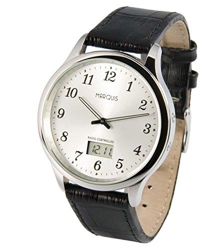 Elegante MARQUIS Herren Funkuhr (Junghans-Uhrwerk) Schwarzes Lederarmband, Edelstahlgehäuse 964.4802