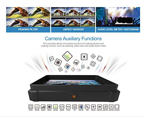 nero Lilliput A7S-2 7 pollici 1920×1200 IPS Screen Camera Field Monitor 4K HDMI Input output Video For DSLR Mirrorless Camera SONY A7 A7R A7S II A6500 Panasonic GH4 GH5 Canon 5D IV 6D 7D 70D 80D NIKON - 3