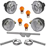 12V Blinker Set - Klar - E-geprüft - Vorn Hinten - Komplett mit Halter und Lampen Simson S50 S51
