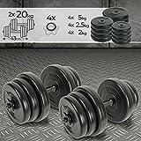 Physionics® Set di Manubri - 40kg (2x20kg), Regolabili, Asta in Ferro - Peso a Scelta - Dischi, Pesi, Palestra, Fitness, Allenamento