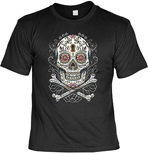 Tag der Toten Herren T-Shirt Totenkopf Dia de los Muertos Floral skull Blumen Sugar Skull Tattoo Gr. L : (Kostüme Der Gothic Tod)