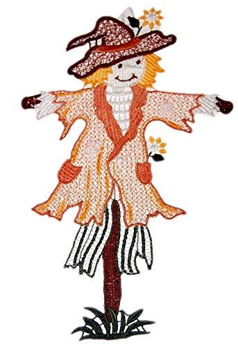 Plauener Spitze Fensterbild Vogelscheuche 17x28 cm + Saugnapf Spitzenbild Deko Herbst Halloween (Halloween Deko-ideen Herbst)