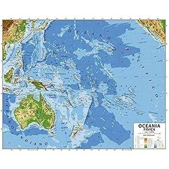Cartina Australia Politica.Cartina Carta Geogrifica Oceania Australia Bifacciale Fisica