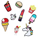 Kleidung Patches Aufnaeher Eis Einhorn Burger braet Lippenstift Applikation Buegelbild Patches,8 Stueck
