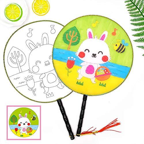 XdremYU - Abanico Infantil para Pintar, no Tiene Color, diseño de Flores,...