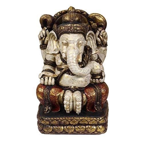 Oriental Galerie Ganesha XL Resin Figur Hinduismus Buddhismus Gott Götterbote Ganapati Geschenk Rot Gold 44cm