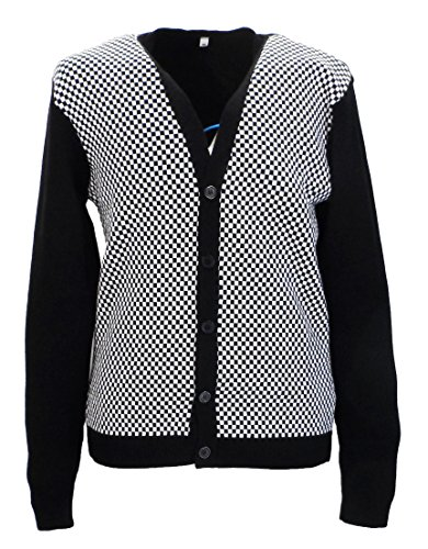 Classic Retro Black and White Mod/Ska Checkerboard Cardigan. S to 3XL
