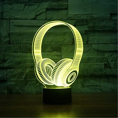 Shuyinju Kinder Geburtstag Beste Geschenke 3D Dj Kopfhörer Form Nachtlicht Led Tischlampe Schlafzimmer Dekor Musik Bunte Kopfhörer Schlaf Beleuchtung
