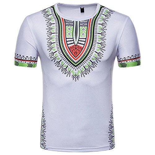 CICIYONER Bluse für Herren, Mode-afrikanisches gedrucktes T-Shirt der Männer Kurzarm Freizeithemd Tops Runder T-Shirt mit Runddruck im Ethno-Stil S-2XL (Weiß-H, XL)