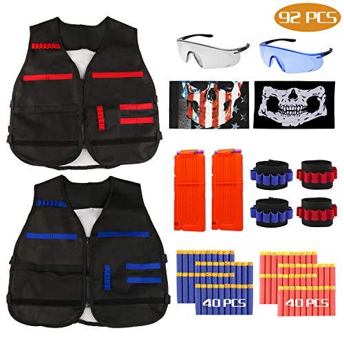 RATEL Taktische Weste Kit für Kinder, Taktische Weste Jacke Set mit 80Pcs Darts Bullets, 2Pcs Reload Clips, 4Pcs Handgelenk, 2 Gesichtsmasken und 2 Brillen (92pcs)