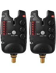XCSOURCE® 2 piezas Electrónico 6 LEDs Alarma de la mordedura de la pesca Resistente al agua Ajustable Tono Sensibilidad de Volumen Alarma de Sonido para Caña de pescar OS821