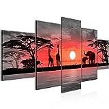 Bilder Afrika Sonnenuntergang Wandbild 200 x 100 cm Vlies - Leinwand Bild XXL Format Wandbilder Wohnzimmer Wohnung Deko Kunstdrucke Rot Grau 5 Teilig -100% MADE IN GERMANY - Fertig zum Aufhängen 000251b