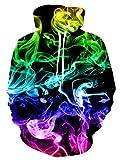 ALISISTER Unisex 3D Kapuzenpullover Buntes Rauchen Bedruckte Pullover Hoodies Frauen Männer Langarm Drawstring Taschen Fleece-Innenseite Kapuzen-Sweatshirt XL