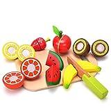 Wishtime Früchten Holztablett mit Holzobst Pretend Play Küche & Essen Spielzeug für Kinder, darunter 7 Arten von Früchten Kinder