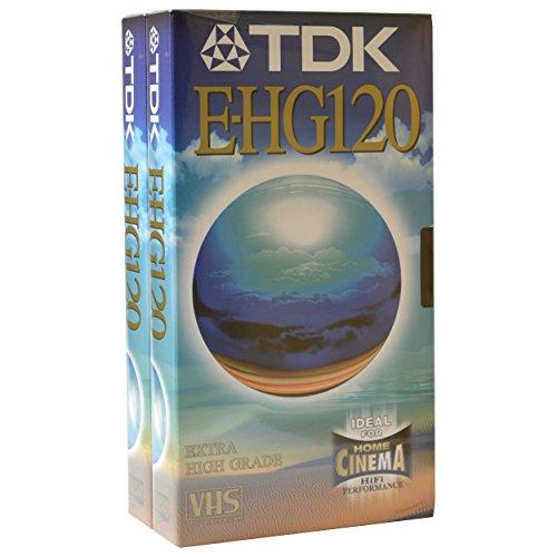 JVC Extra TDK Archivo de Casete de Cinta de vídeo VHS en Blanco para Alto Rendimiento y grabación Especial Uso e-hg120 2 x 2 Hour