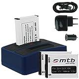 3x Akku + Dual-Ladegerät (Netz+Kfz+USB) für Samsung SLB-10A / Toshiba Camileo X-Sports / JVC Adixxion / Silvercrest / Medion Action Cam.. s. Liste