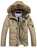 Glestore Herren Warme Winterjacke Parka mit Fell Baumwolle Wintermantel mit Pelzkragen Kapuzenjacke Outdoor Braun XS