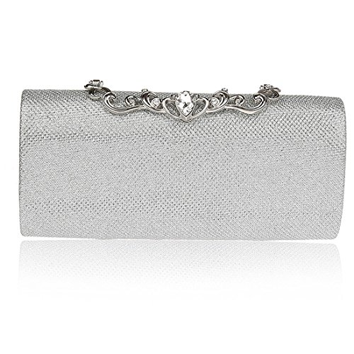 KAXIDY Damen Clutch Klassische Abendtasche Handtasche (Silber) -