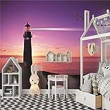 Fototapete Leuchtturm 3D Tapete Vliestapete Moderne Wanddeko Design Tapete Wandtapete Wand Dekoratio Wohnzimmer TV Hintergrundwand - 250cm(W) x175cm(H) - 5 Stripes